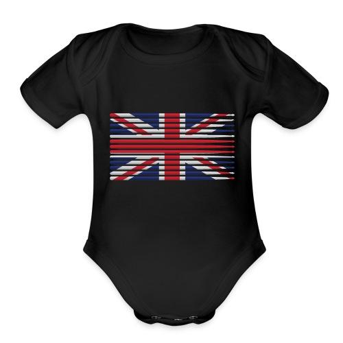 United Kingdom drummer drum stick flag - Organic Short Sleeve Baby Bodysuit