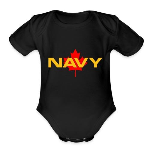 Navy Logo on Maple Leaf - Organic Short Sleeve Baby Bodysuit