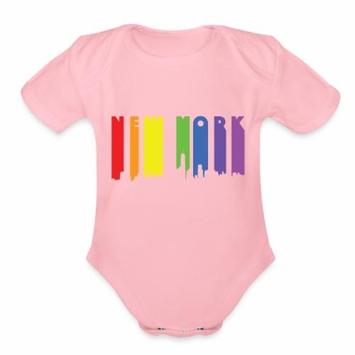 New York design Rainbow - Organic Short Sleeve Baby Bodysuit