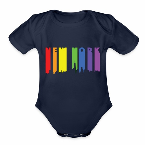 New York design Rainbow - Organic Short Sleeve Baby Bodysuit