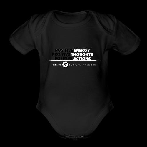 1NE POSITIVE ENERGY THOUGHTS ACTION WHT - Organic Short Sleeve Baby Bodysuit