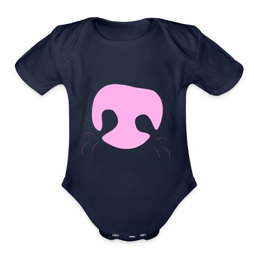 Pink Whimsical Dog Nose - Organic Short Sleeve Baby Bodysuit