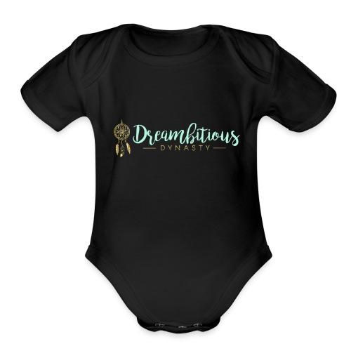 Dreambitious-Dynasty-Logo-MintGold_-1- - Organic Short Sleeve Baby Bodysuit