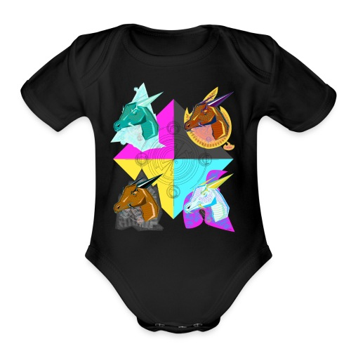 four elemental dragons - Organic Short Sleeve Baby Bodysuit