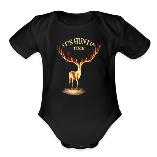 Hunting time - Organic Short Sleeve Baby Bodysuit