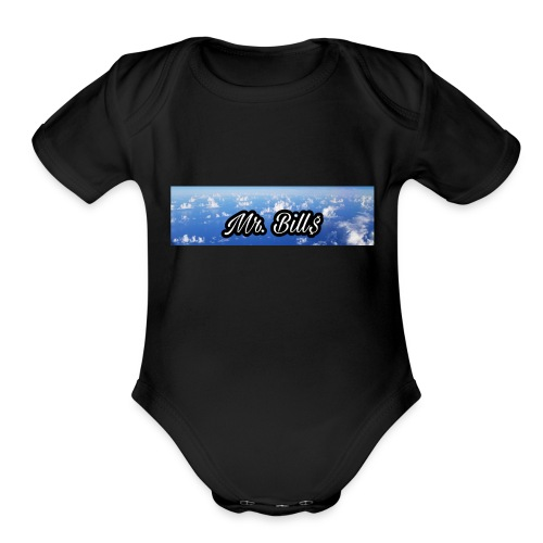 Mr. Bill$ logo - Organic Short Sleeve Baby Bodysuit