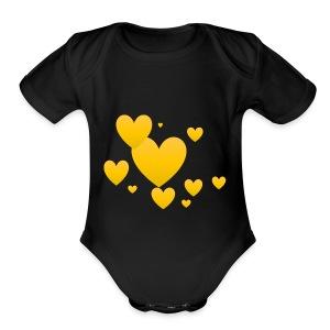 Yellow hearts - Short Sleeve Baby Bodysuit