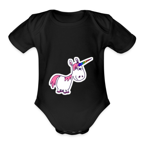 Rainbow unicorn with pink hair - Organic Short Sleeve Baby Bodysuit