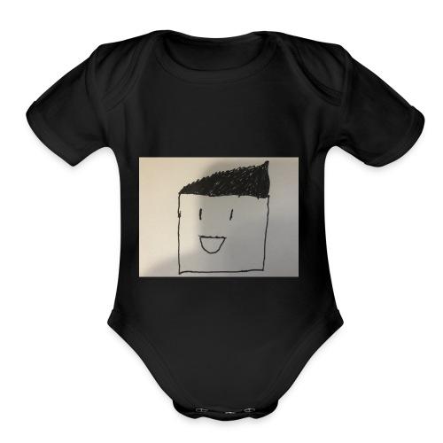 Guy with random stuff - Organic Short Sleeve Baby Bodysuit
