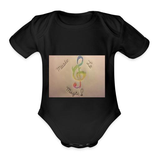 Rainbow Music Note - Organic Short Sleeve Baby Bodysuit