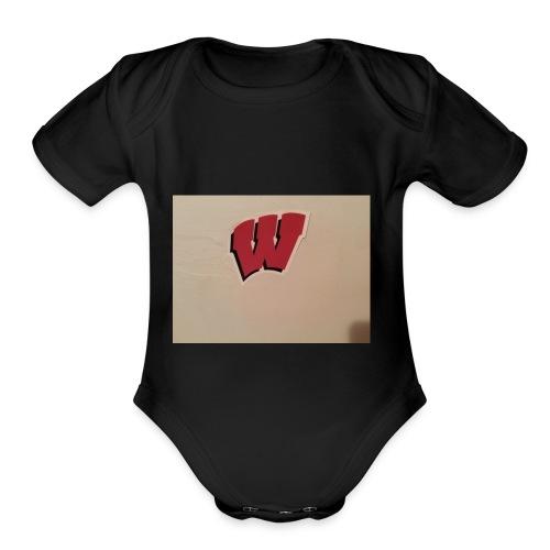Wisconsin badgers - Organic Short Sleeve Baby Bodysuit