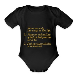 There are only... Mahatma Gandhi Life Quote - Short Sleeve Baby Bodysuit