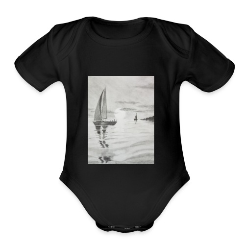 Boat At Sea - Organic Short Sleeve Baby Bodysuit