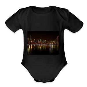 chicago skyline - Short Sleeve Baby Bodysuit
