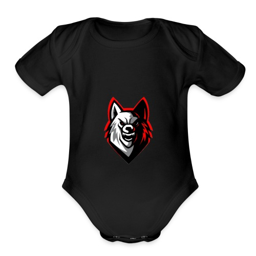 wolf logo by supreme_gamer7 - Organic Short Sleeve Baby Bodysuit