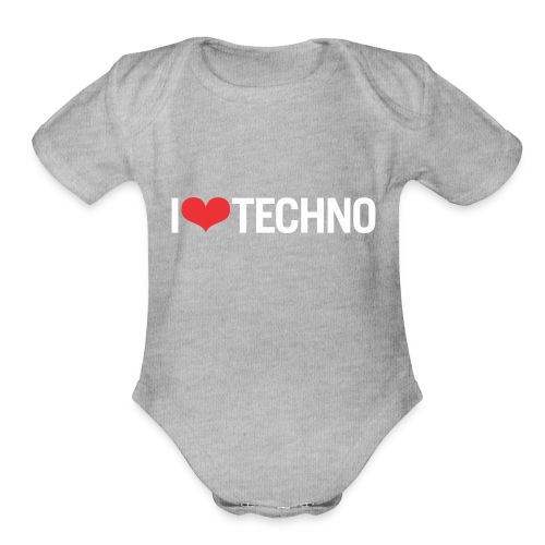 I Love Techno - Organic Short Sleeve Baby Bodysuit