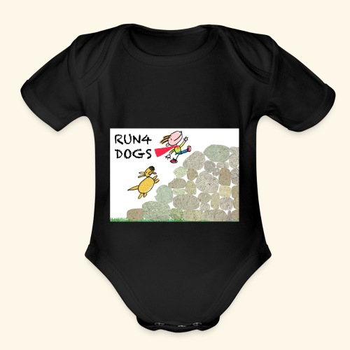 Dog chasing kid - Organic Short Sleeve Baby Bodysuit