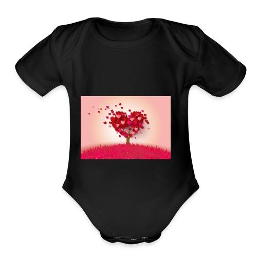 Heart Love Tree - Organic Short Sleeve Baby Bodysuit