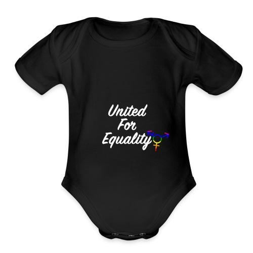 White United For Equality Logo - Organic Short Sleeve Baby Bodysuit