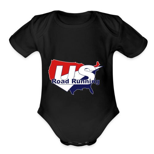 US Road Running Logo - Organic Short Sleeve Baby Bodysuit