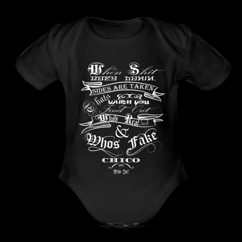 when shit goes down - Organic Short Sleeve Baby Bodysuit