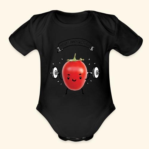 Tomato Man Gym - Organic Short Sleeve Baby Bodysuit
