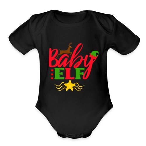 Baby Elf christmas - Organic Short Sleeve Baby Bodysuit