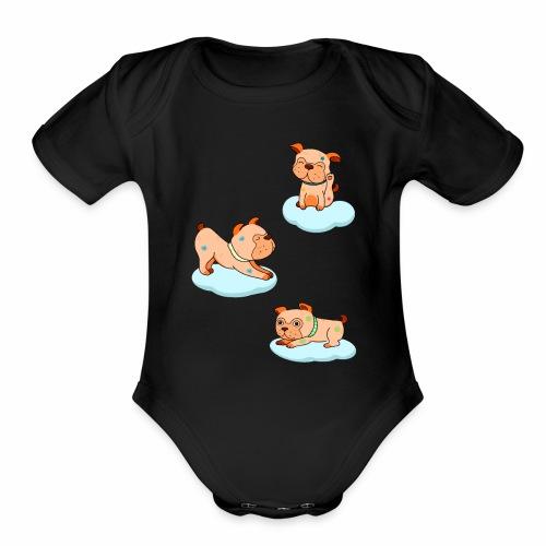 little pugs - Organic Short Sleeve Baby Bodysuit