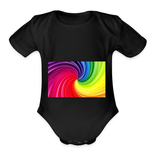 color swirl - tie-dye - Organic Short Sleeve Baby Bodysuit