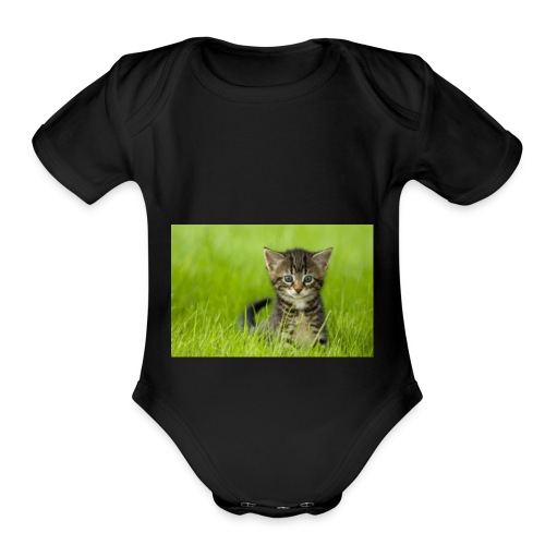 cat - Organic Short Sleeve Baby Bodysuit