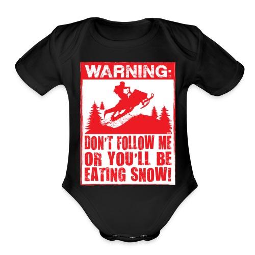 Snowmobile Warning - Organic Short Sleeve Baby Bodysuit