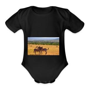 Kenya zebras - Short Sleeve Baby Bodysuit
