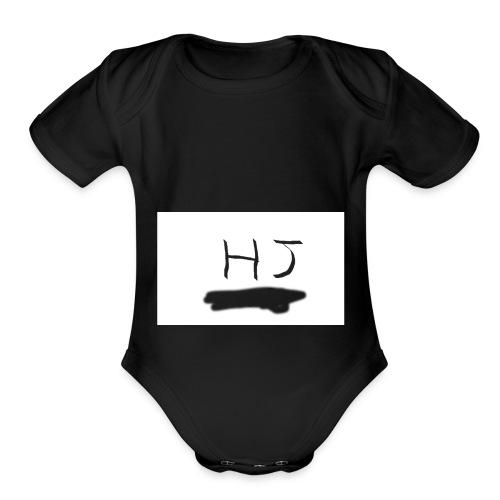 HJ small letter merch - Organic Short Sleeve Baby Bodysuit