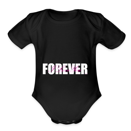 I LOVE YOU FOREVER Pink and White - Organic Short Sleeve Baby Bodysuit