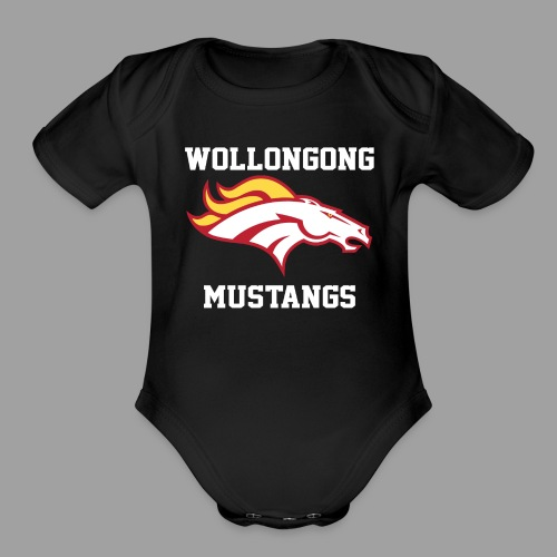 Mustangs Logo White - Organic Short Sleeve Baby Bodysuit