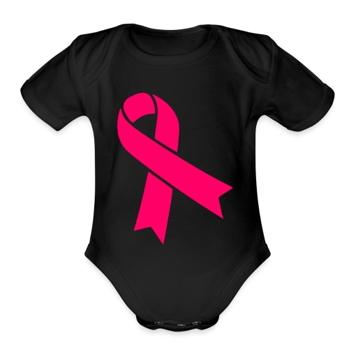 pink ribbon plain - Organic Short Sleeve Baby Bodysuit