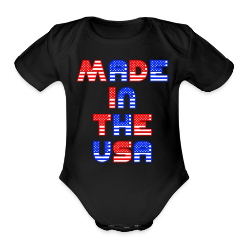 Made In the USA Patriotic United States - Organic Short Sleeve Baby Bodysuit
