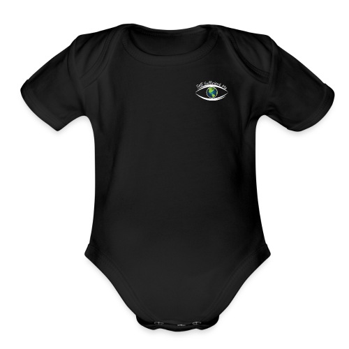 Self Sufficient Me Logo white small coy design - Organic Short Sleeve Baby Bodysuit
