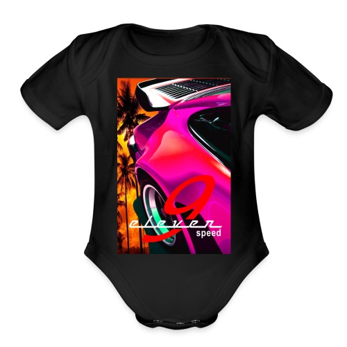 911 Car T-Shirt Whale Tail Sports Design Pink - Organic Short Sleeve Baby Bodysuit