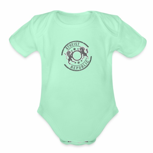 Atheist Republic Logo - Starred Stamp - Organic Short Sleeve Baby Bodysuit