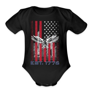 American Flag T Shirts - Short Sleeve Baby Bodysuit