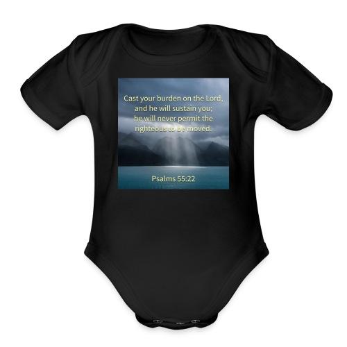 Psalm 55:22-54 - Organic Short Sleeve Baby Bodysuit