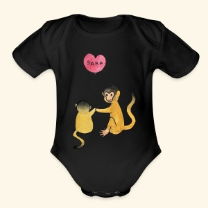 Monkey Family for Yuri - Short Sleeve Baby Bodysuit