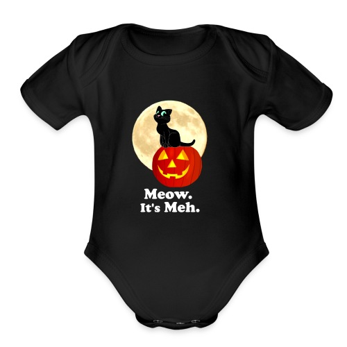 Black Cat Pumpkin Funny Halloween Gifts Ideas - Organic Short Sleeve Baby Bodysuit