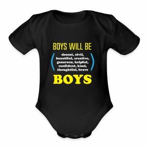 boy tee final - Short Sleeve Baby Bodysuit