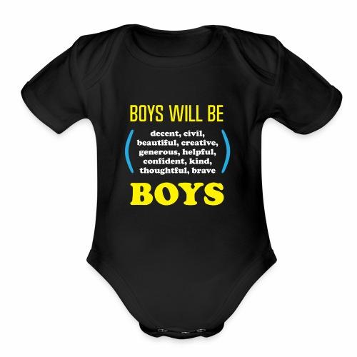 boy tee final - Organic Short Sleeve Baby Bodysuit