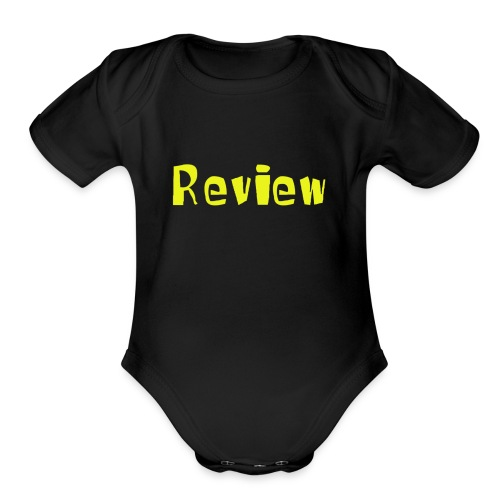 Yellow Review Logo - Organic Short Sleeve Baby Bodysuit