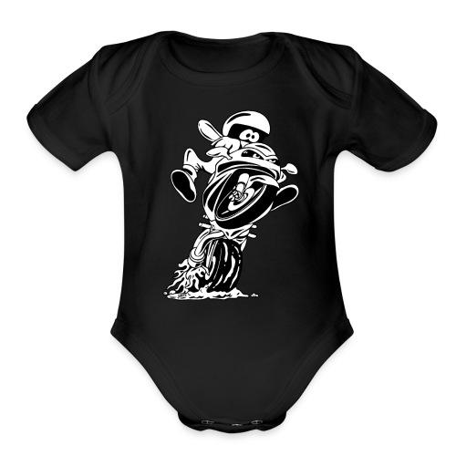 Sportbike motorcycle cartoon illustration - Organic Short Sleeve Baby Bodysuit