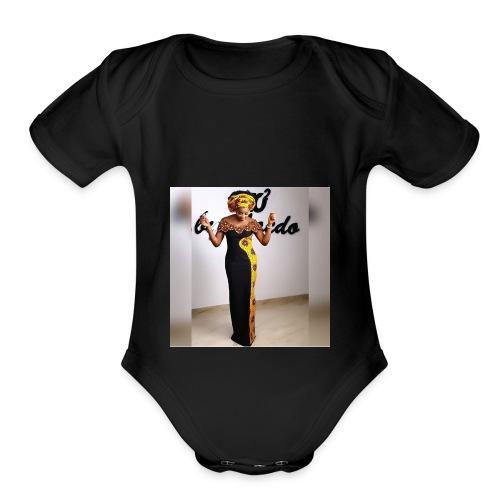 Ankara print tan top - Organic Short Sleeve Baby Bodysuit