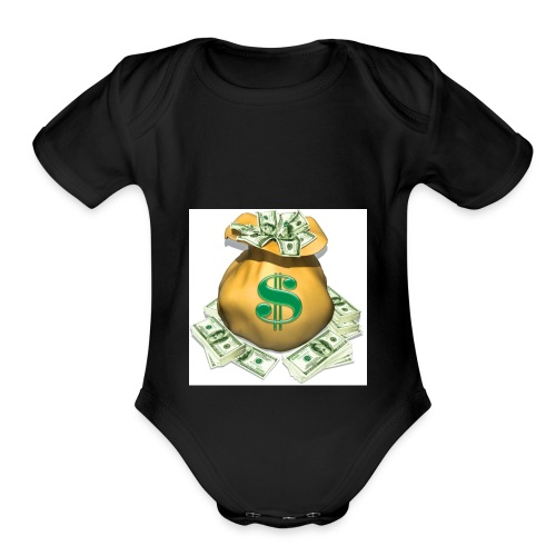SECURE THE BAG !!💯💪🏽 - Organic Short Sleeve Baby Bodysuit